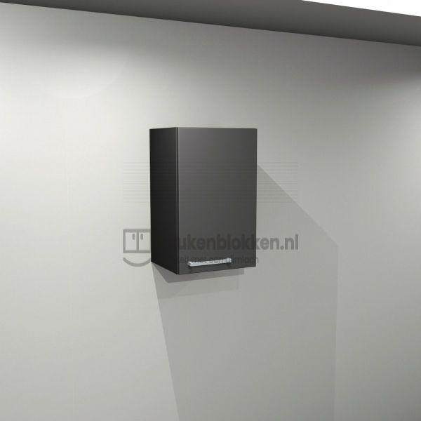 Bovenkast rechtsdraaiend 0.40 m breed - Carbon zwart