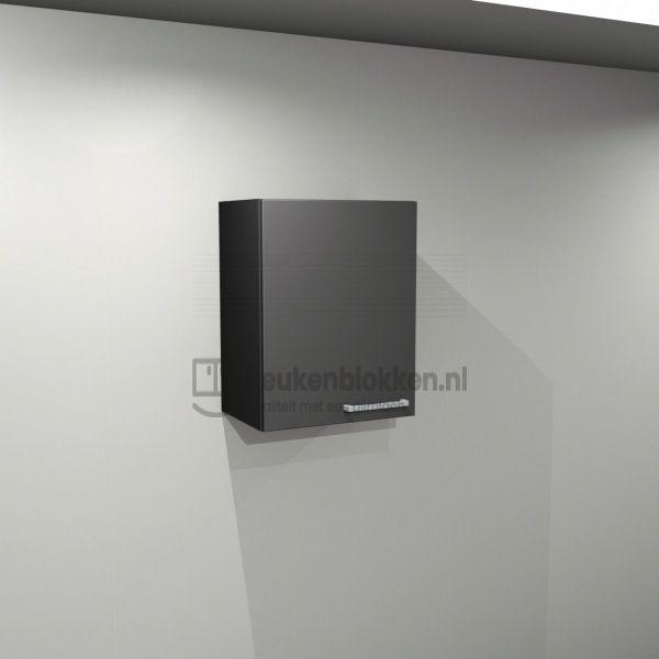 Bovenkast linksdraaiend 0.50 m breed - Carbon zwart