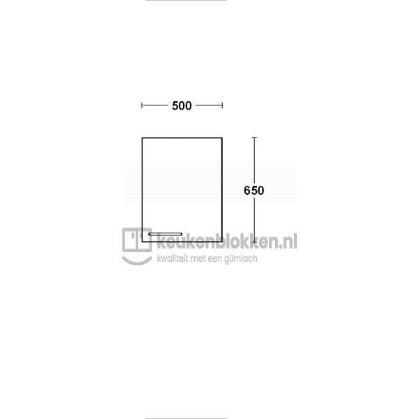 Bovenkast rechtsdraaiend 0.50 m breed - Onyx grijs