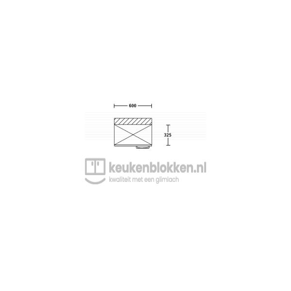 Bovenkast linksdraaiend 0.60 m breed - Eiken zand