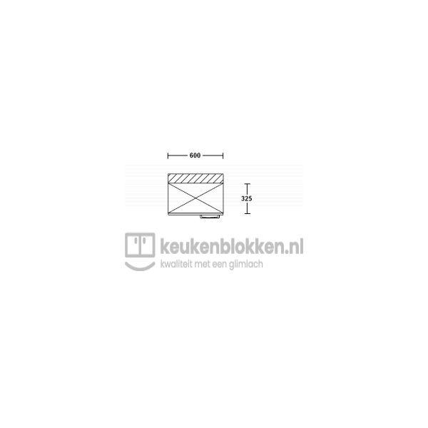 Bovenkast linksdraaiend 0.60 m breed - Alpine wit (op voorraad)