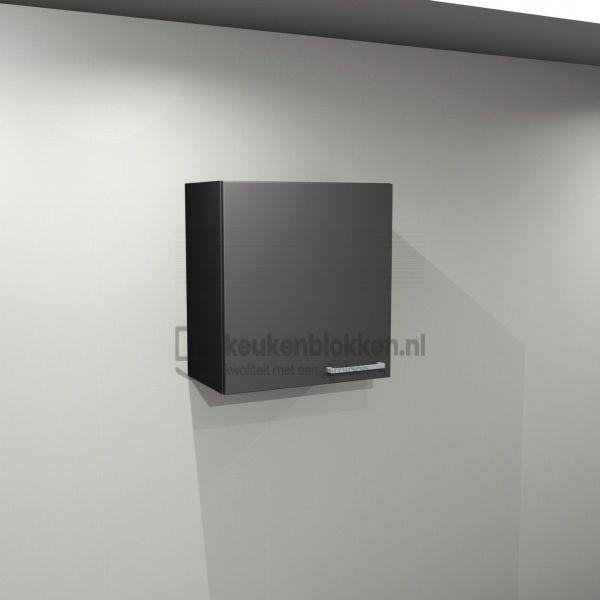 Bovenkast linksdraaiend 0.60 m breed - Carbon zwart (op voorraad)
