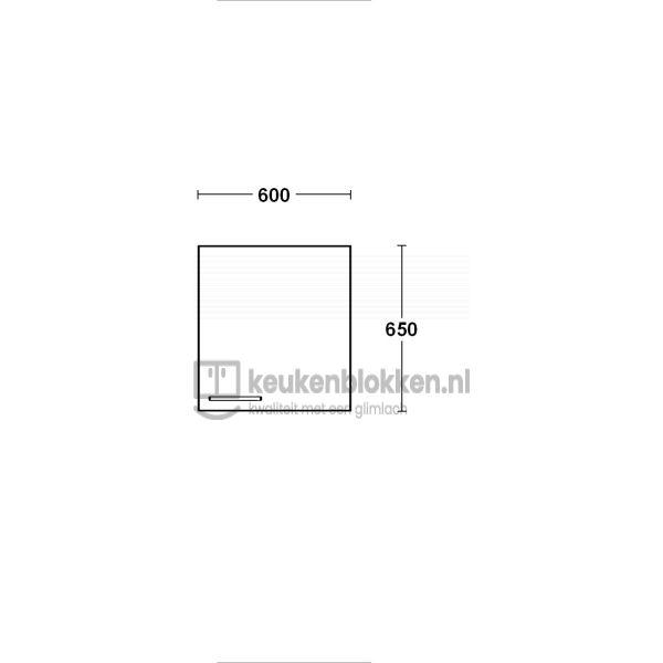 Bovenkast rechtsdraaiend 0.60 m breed - Carbon zwart (op voorraad)