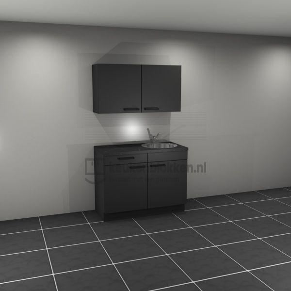 Keukenblok met spoelbak rechts met lade 1.20 m breed - Carbon zwart met bovenkast