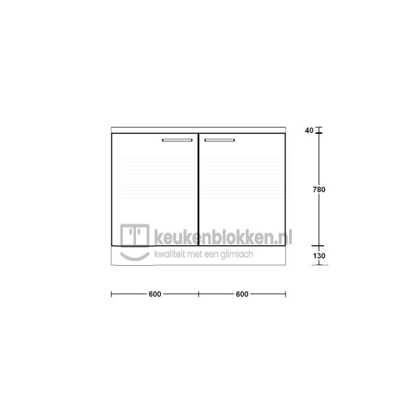 Keukenblok zonder spoelbak 1.20 m breed - Magnolia