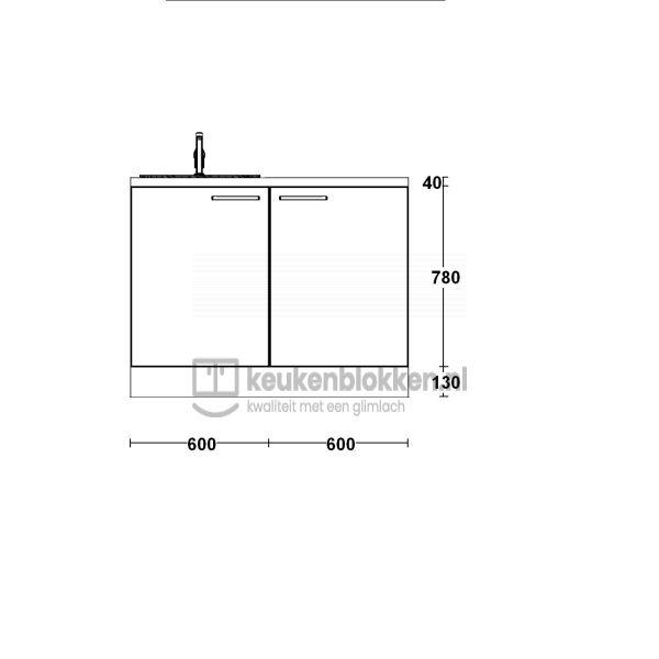 Keukenblok met spoelbak links 1.20 m breed - Carbon zwart