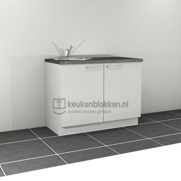 Keukenblok met spoelbak links 1.20 m breed - Alpine wit hoogglans