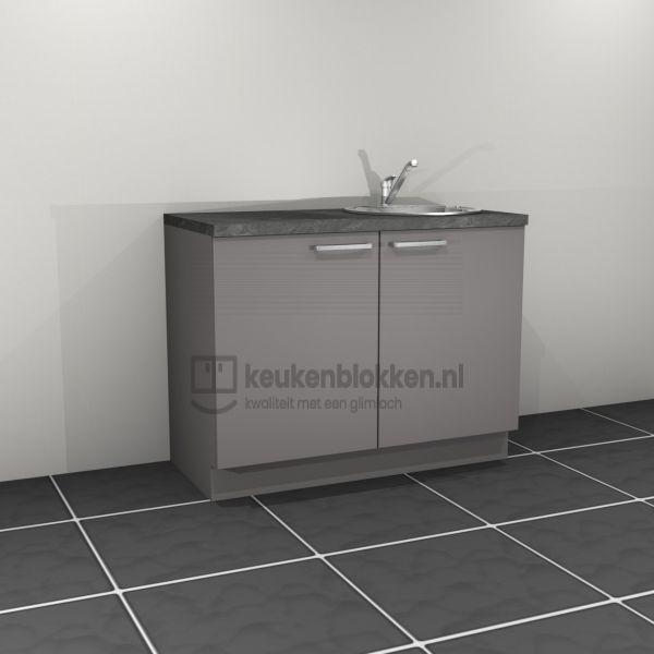 Keukenblok met spoelbak rechts 1.20 m breed - Onyx grijs