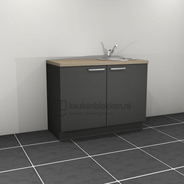 Keukenblok met spoelbak rechts 1.20 m breed - Carbon zwart