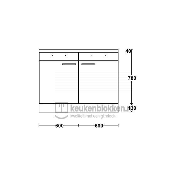Keukenblok zonder spoelbak met lade 1.20 m breed - Eiken zand