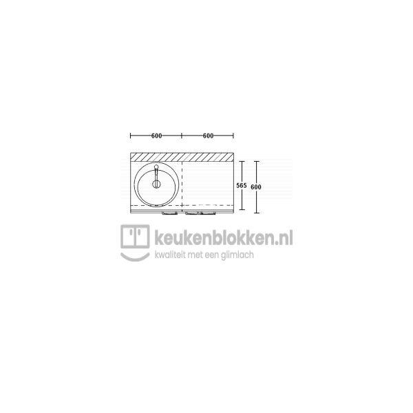 Keukenblok met spoelbak links met lade 1.20 m breed - Alpine wit hoogglans