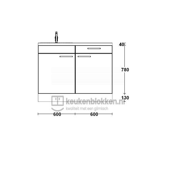 Keukenblok met spoelbak links met lade 1.20 m breed - Onyx grijs