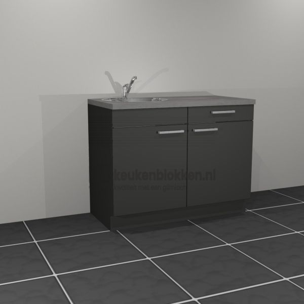 Keukenblok met spoelbak links met lade 1.20 m breed - Carbon zwart (op voorraad)