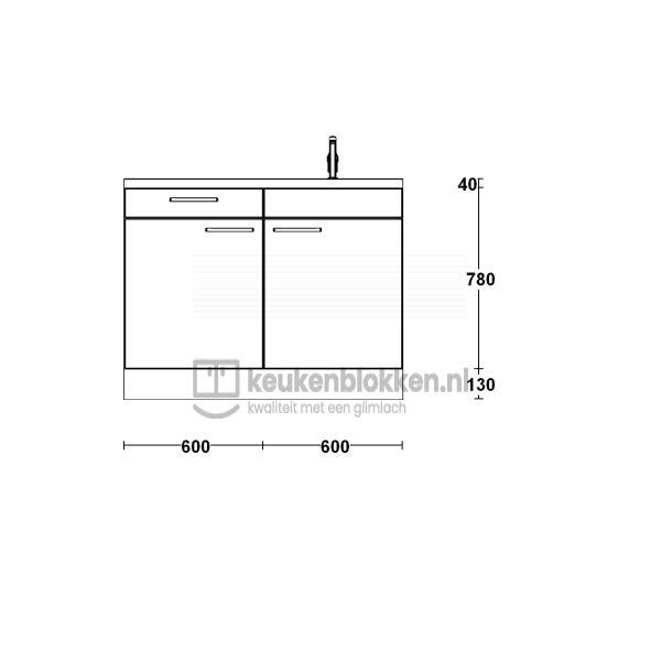 Keukenblok met spoelbak rechts met lade 1.20 m breed - Alpine wit hoogglans