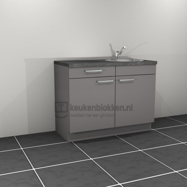 Keukenblok met spoelbak rechts met lade 1.20 m breed - Onyx grijs