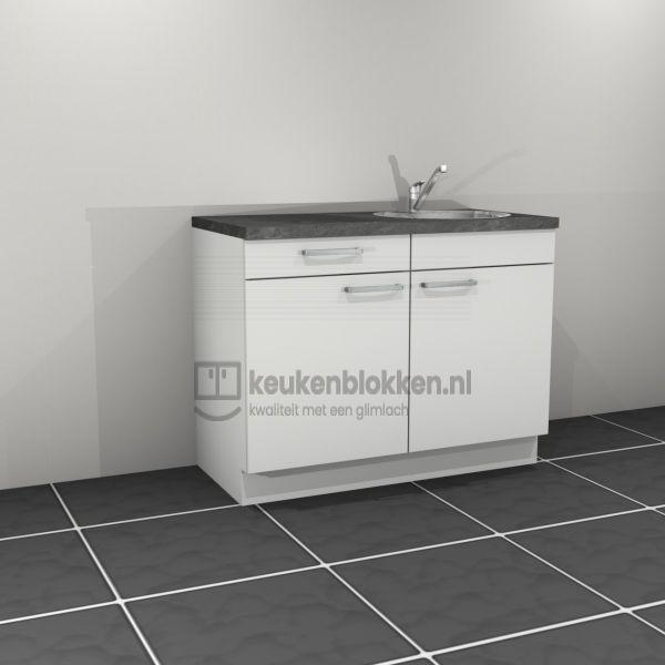 Keukenblok met spoelbak rechts met lade 1.20 m breed - Alpine wit