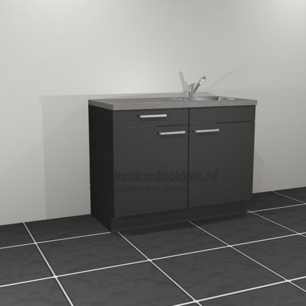 Keukenblok met spoelbak rechts met lade 1.20 m breed - Carbon zwart (op voorraad)