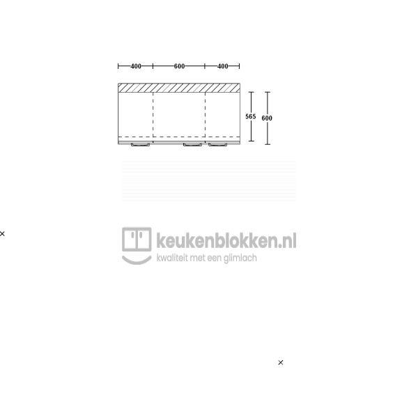 Keukenblok zonder spoelbak 1.40 m breed - Onyx grijs