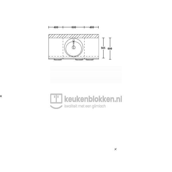 Keukenblok met spoelbak midden 1.40 m breed - Alpine wit