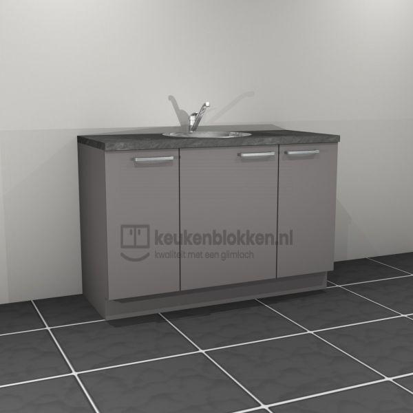 Keukenblok met spoelbak midden 1.40 m breed - Onyx grijs