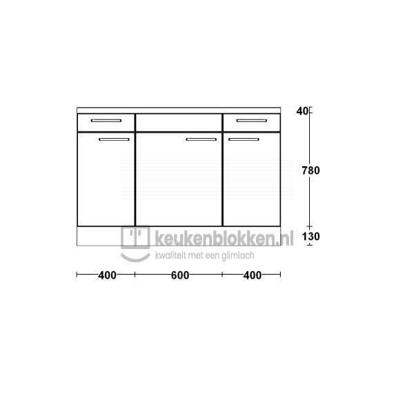 Keukenblok zonder spoelbak met lade 1.40 m breed - Magnolia
