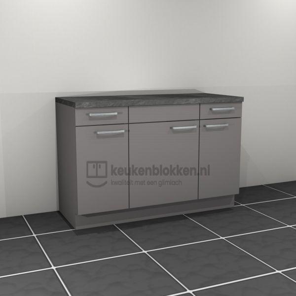 Keukenblok zonder spoelbak met lade 1.40 m breed - Onyx grijs