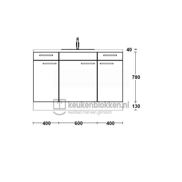 Keukenblok met spoelbak midden met lades 1.40 m breed - Magnolia