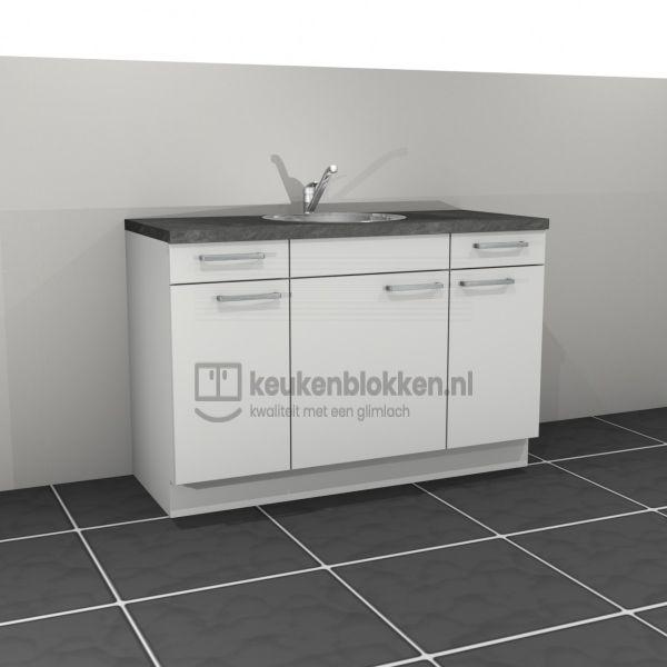 Keukenblok met spoelbak midden met lades 1.40 m breed - Alpine wit