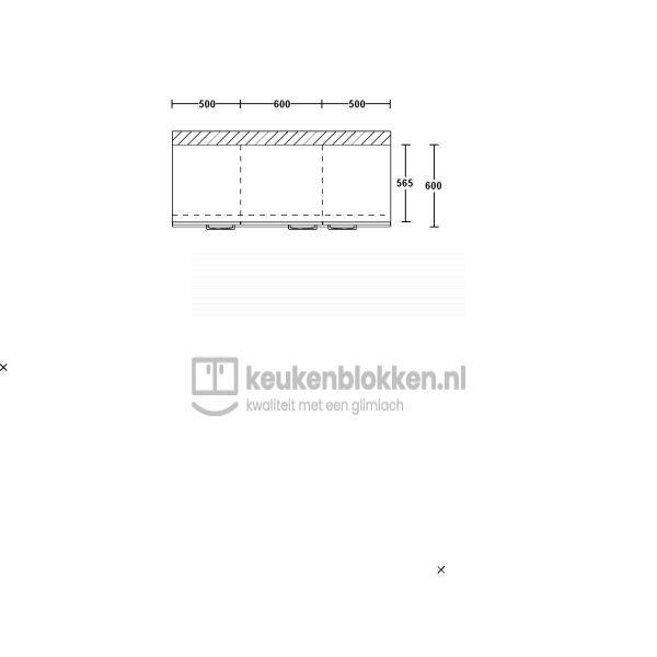 Keukenblok zonder spoelbak 1.60 m breed - Onyx grijs