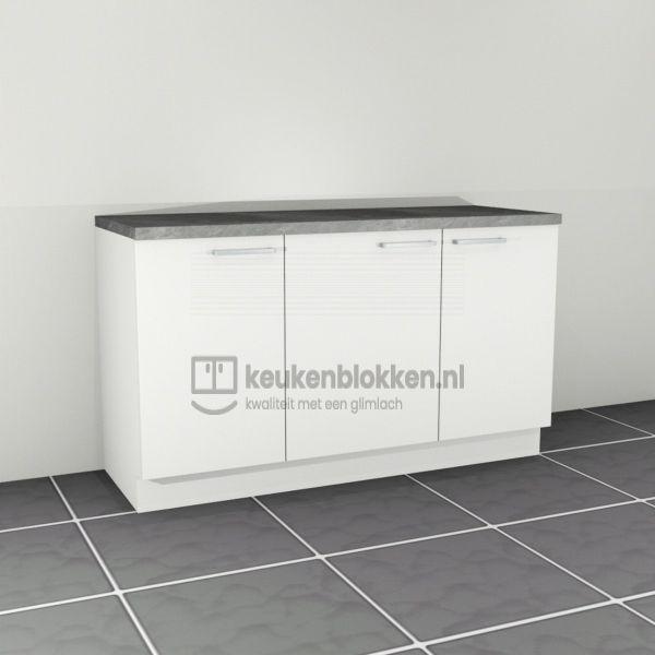 Keukenblok zonder spoelbak 1.60 m breed - Alpine wit
