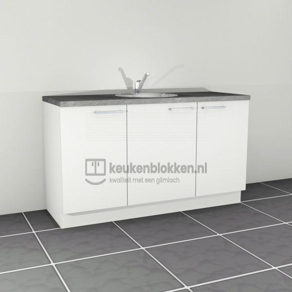Keukenblok met spoelbak midden 1.60 m breed - Alpine wit