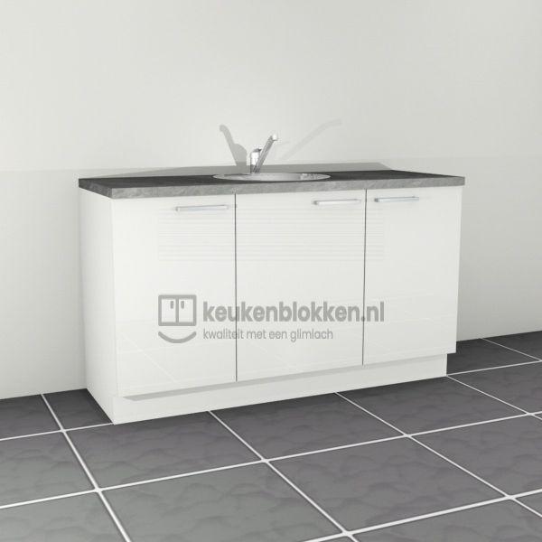 Keukenblok met spoelbak midden 1.60 m breed - Alpine wit hoogglans
