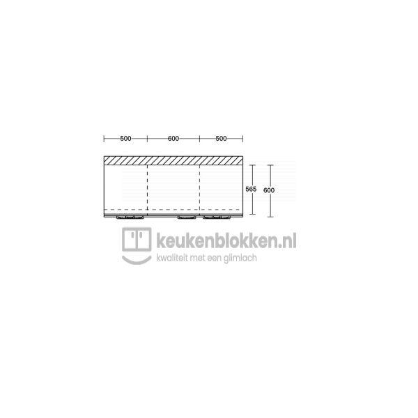 Keukenblok zonder spoelbak met lades 1.60 m breed - Onyx grijs