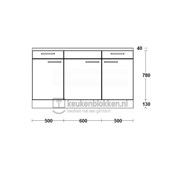 Keukenblok zonder spoelbak met lades 1.60 m breed - Magnolia