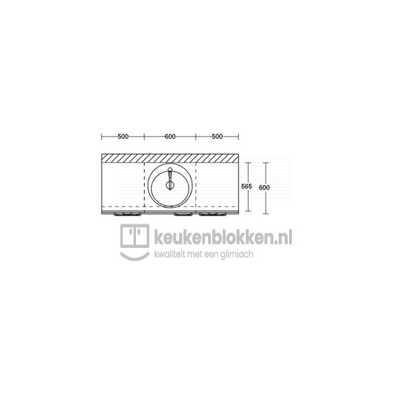 Keukenblok met spoelbak met lades 1.60 m breed - Onyx grijs