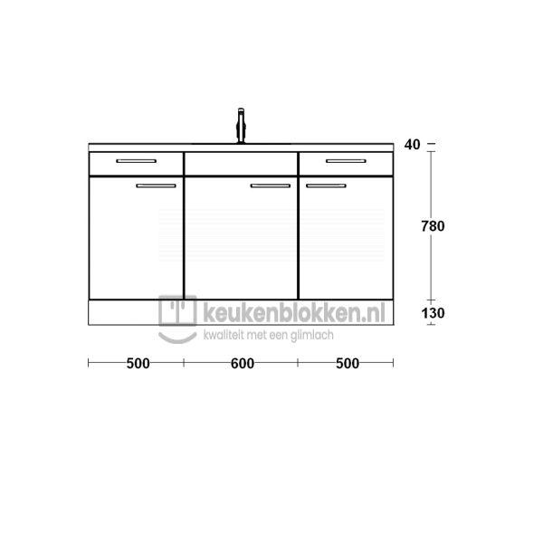 Keukenblok met spoelbak met lades 1.60 m breed - Magnolia