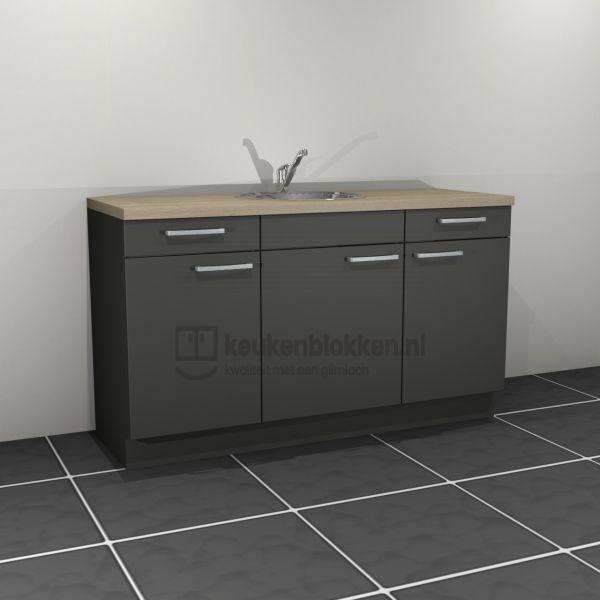 Keukenblok met spoelbak met lades 1.60 m breed - Carbon zwart