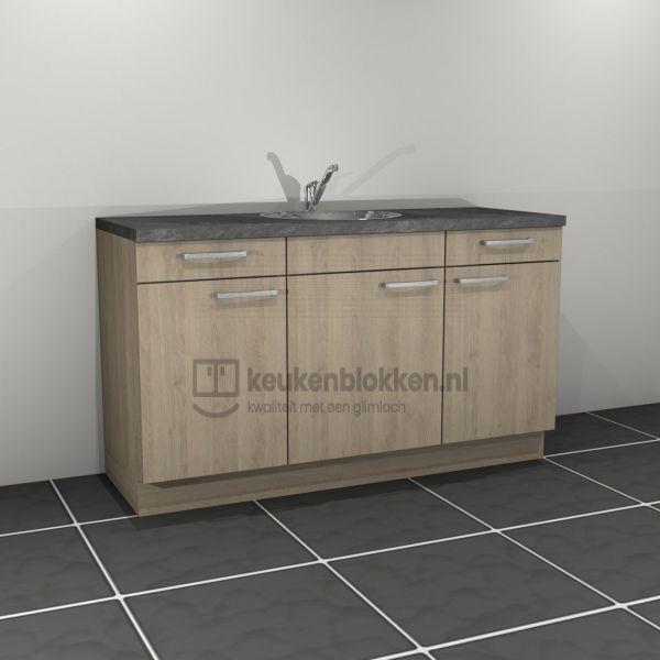Keukenblok met spoelbak met lades 1.60 m breed - Eiken zand