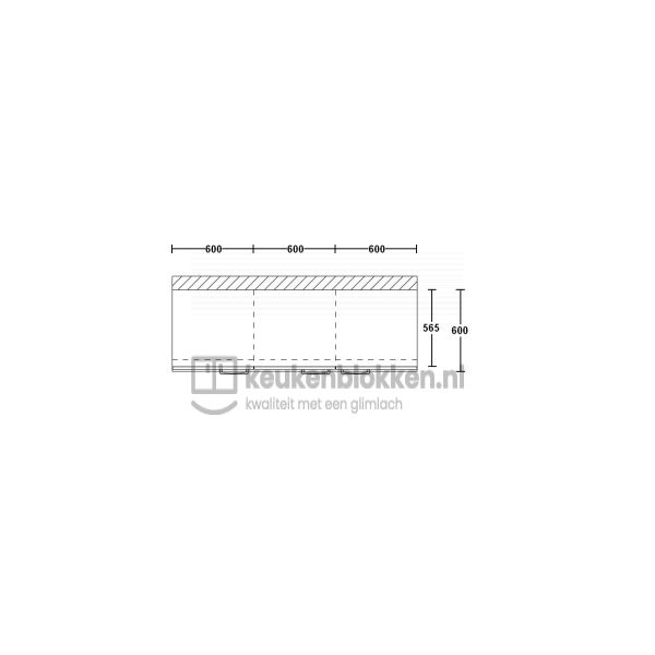 Keukenblok zonder spoelbak 1.80 m breed - Alpine wit
