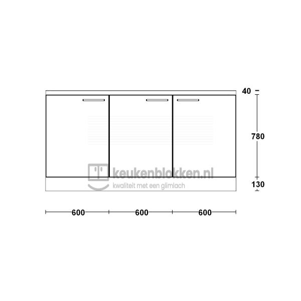 Keukenblok zonder spoelbak 1.80 m breed - Eiken zand