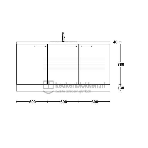 Keukenblok met spoelbak 1.80 m breed - Onyx grijs