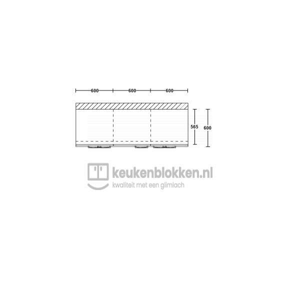 Keukenblok zonder spoelbak met lades 1.80 m breed - Onyx grijs