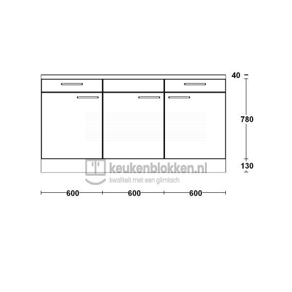 Keukenblok zonder spoelbak met lades 1.80 m breed - Alpine wit hoogglans