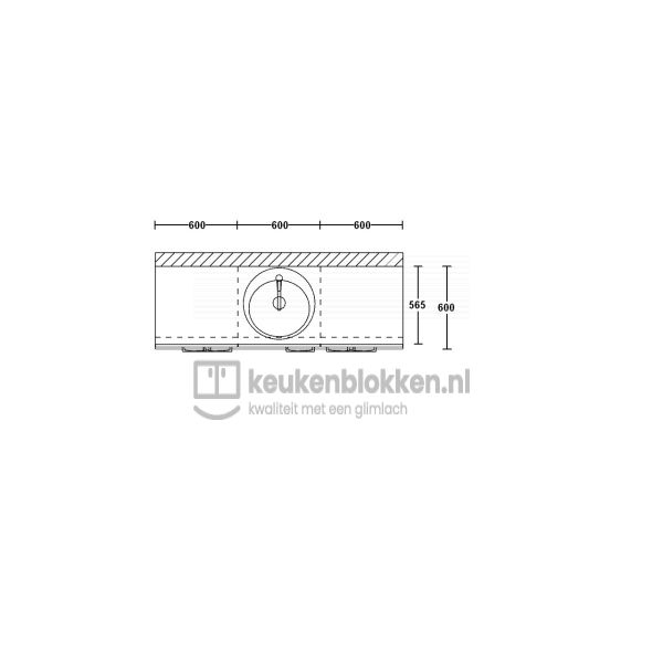 Keukenblok met spoelbak met lades 1.80 m breed - Onyx grijs