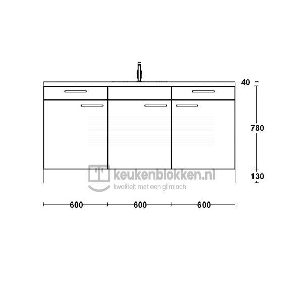 Keukenblok met spoelbak met lades 1.80 m breed - Alpine wit (op voorraad)