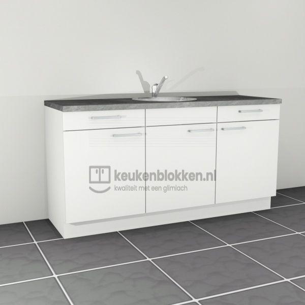 Keukenblok met spoelbak met lades 1.80 m breed - Alpine wit.