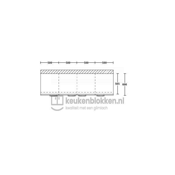 Keukenblok zonder spoelbak 2.00 m breed - Onyx grijs