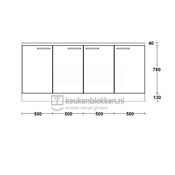 Keukenblok zonder spoelbak 2.00 m breed - Magnolia