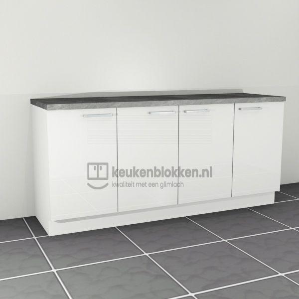 Keukenblok zonder spoelbak 2.00 m breed - Alpine wit hoogglans