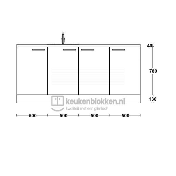 Keukenblok met spoelbak links 2.00 m breed - Alpine wit hoogglans
